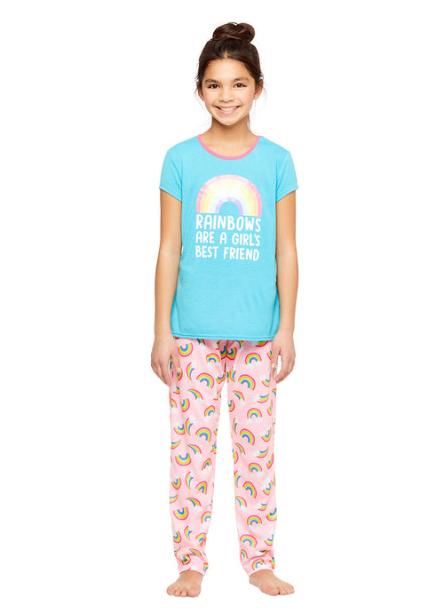 Girls Knit 3-Piece Pajamas Sleep Pant & Shorts Set, by Jellifish Kids