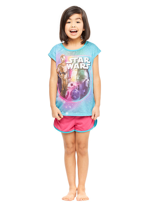 Star Wars Girls 2-Piece Pajama Set, Short-Sleeve Top and Shorts