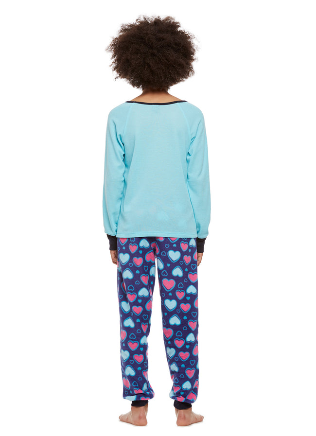 Girls 2-Piece Pajama Set, Thermal Long-Sleeve Top and Fleece Jogger Pants, Aqua Cat, by Jellifish Kids