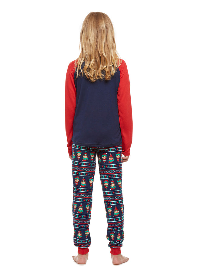 Girls 2-Piece Pajama Set, Long-Sleeve Henley Top and Lush Jogger Pants, Red Elf, by Jellifish Kids
