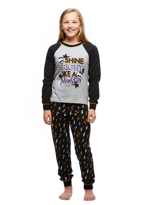 Big Girls 2-Piece Pajama Set, Long-Sleeved Top and Jogger Pants, Monster High, by Jellifish Kids