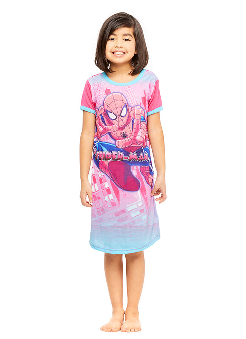 Spider-Man Girls Pink Nightgown
