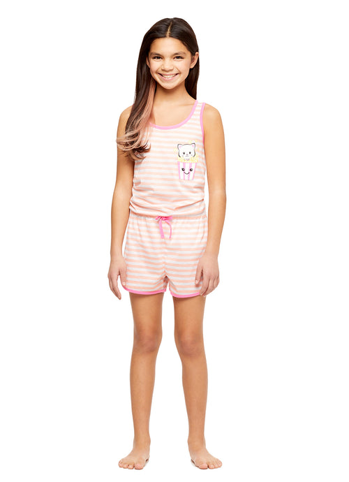Girls Knit Pajamas Romper, by Jellifish Kids Cat