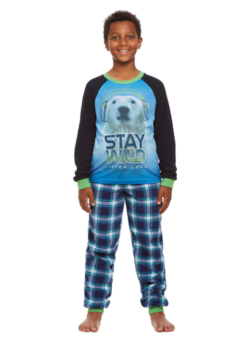 Boys 2-Piece Pajama Set, Long-Sleeve Thermal Top and Fleece Jogger Pants