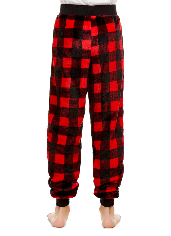 Boys Pajama Bottoms, Cozy Fleece Jogger Pants, Red Buffalo Plaid, by Jellifish Kids