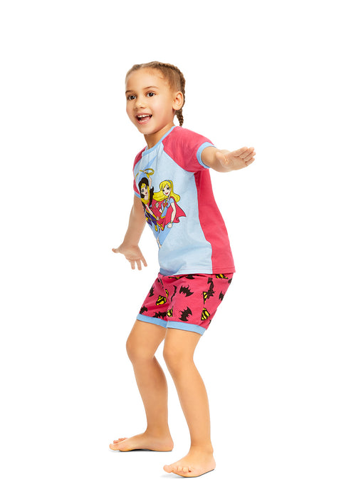 DC Super Hero Girls 2-Piece Cotton Pajama Set | Short-Sleeve Top and Shorts