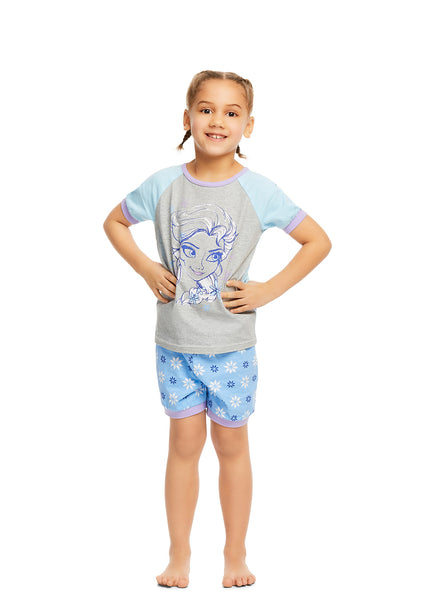 Disney Frozen Girls 2-Piece Cotton Pajama Set | Short-Sleeve Top and Shorts