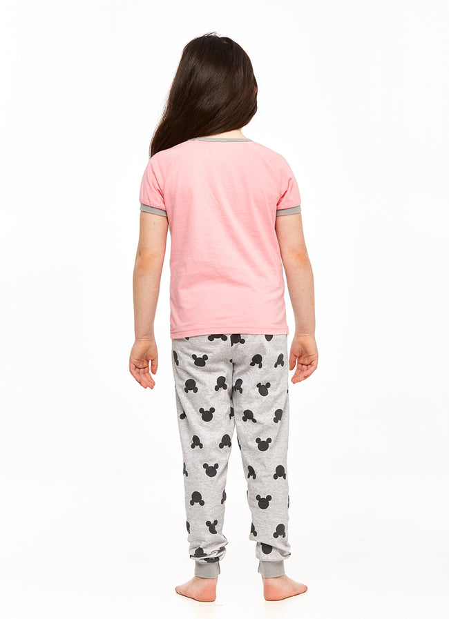 Minnie Mouse Girls 2-Piece Cotton Pajama Set,Top & Jogger Pants