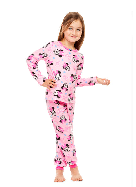 Disney Minnie Mouse 2-Piece PJ Set For Girls | Pink Fleece Pajamas For Kids