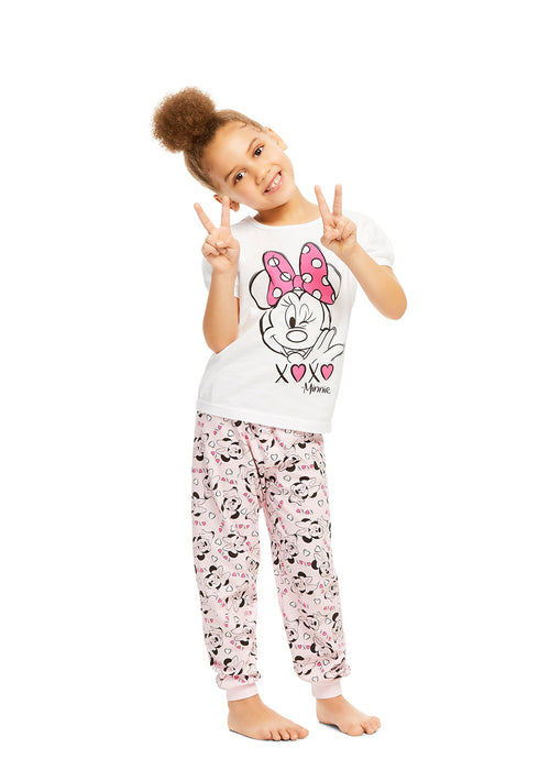 Disney Minnie Mouse Girls 2-Piece Cotton Pajama Set | Short-Sleeve Top & Jogger Pants