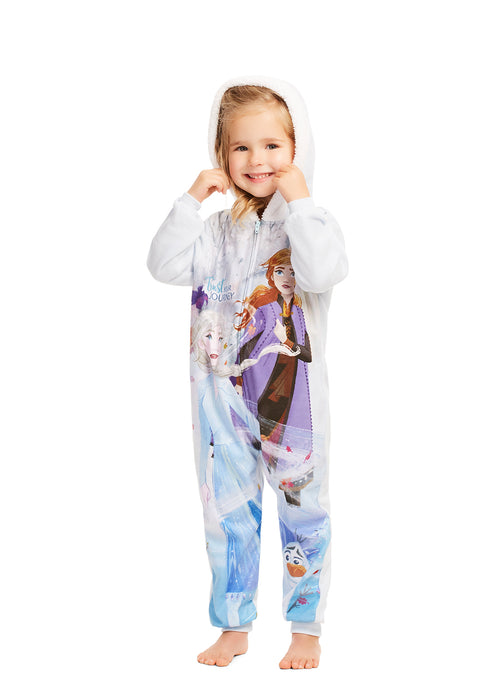 Disney Frozen 2 Girls Blanket Sleeper | Zippered Hooded Onesie Pajama