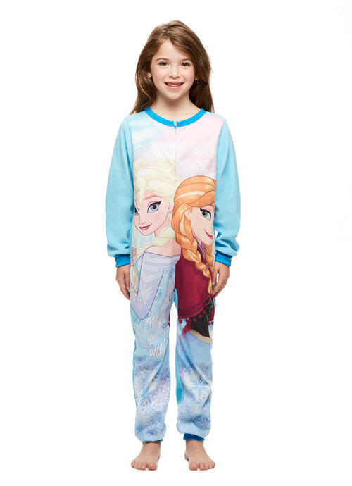 Girls Cozy Pajamas, Blanket Sleeper Onesie, Frozen
