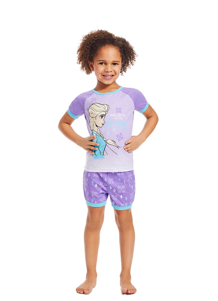 Girls 3-Piece Pajama Set | Aqua Rainbow Glitter Print Sleep Top, Jogger Pants and Shorts