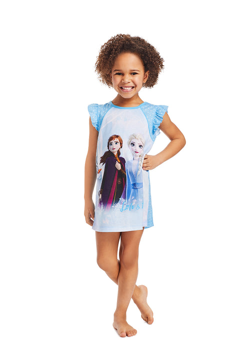 Frozen 2 Girls Sleep Gown | Soft and Cozy Kids Blue Sleep Shirt