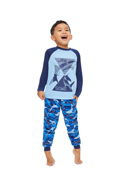Boys 2 Piece Pajama Set | Blue Shark Puff Print Sleep Top, Shark Pants