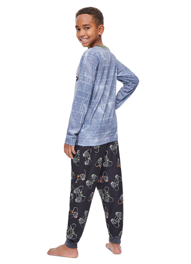 Boys 2 Piece Pajama Set | Grey Dino Sublimation Print Sleep Top, Video Game Controller Pants