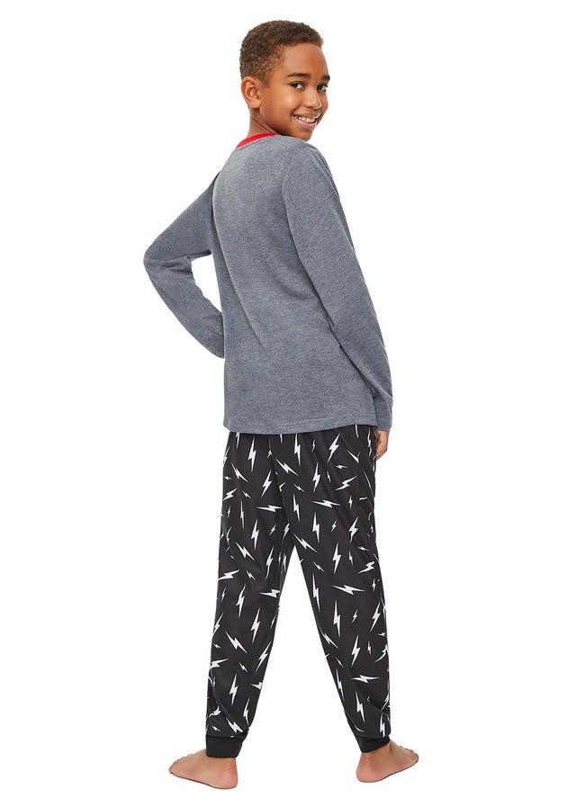 Boys 3 Piece Pajama Set |  Grey Skull Puff Print Sleep Top, Jogger Pants and Shorts