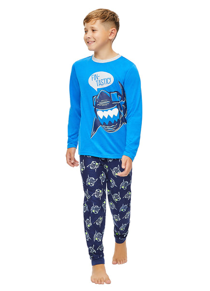 Boys 3 Piece Pajama Set | Blue Shark Print Top, Jogger Pants and Shorts