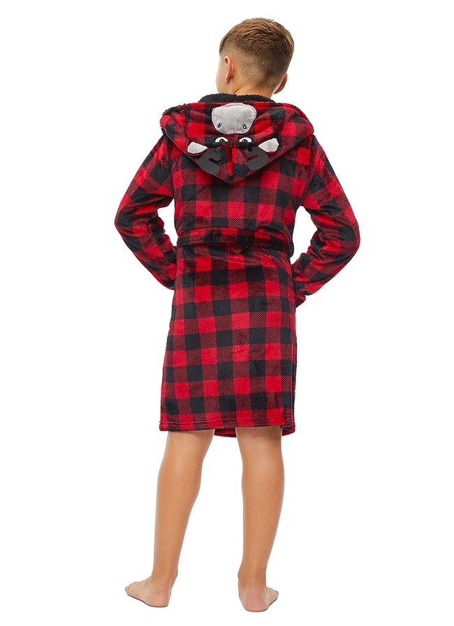 Boys Sleep Robe | Flannel Fleece Bathrobe with 3D Moose Hood