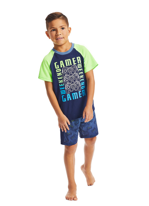 Boys 2-Piece Pajama Set | Lime Gaming High Density Print Sleep Top, Blue Shorts