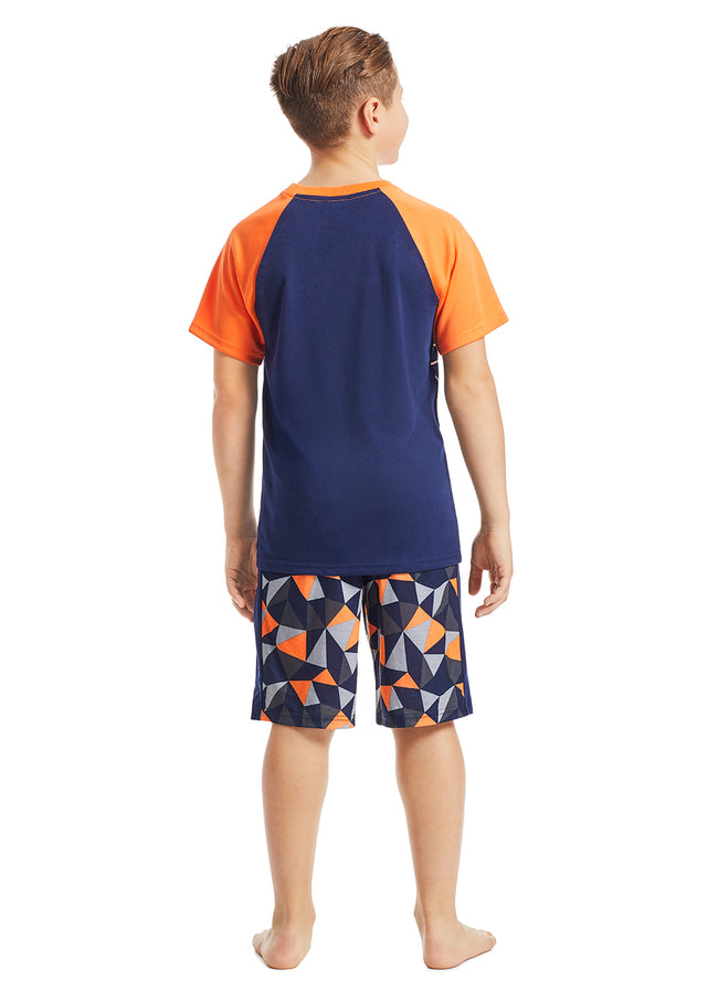 Boys 2-Piece Pajama Set | Orange Ape Foil Print Sleep Top, Multicolour Shorts