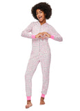 Girls Pajama | Plush Zippered Leopard Onesie with 3D Hood
