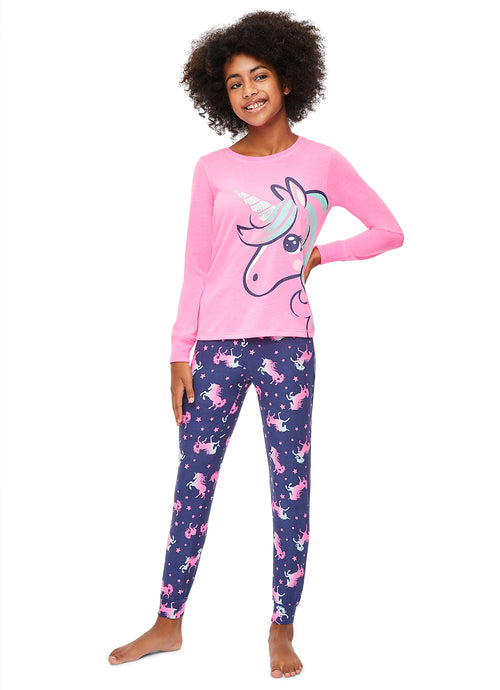 Girls 2-Piece Pajama Set | Glitter Unicorn Sleep Sleep Top, Unicorn Pants