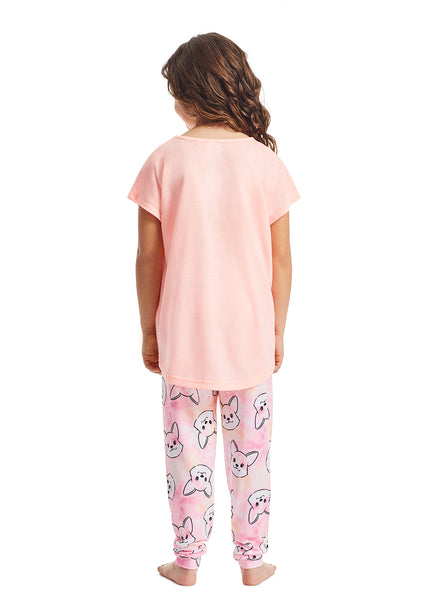 Girls 3-Piece Pajama Set | Coral Dog Metallic Print Sleep Top, Jogger Pants and Shorts