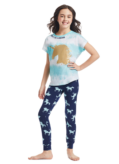 Girls 2-Piece Pajama Sleep Set | Aqua Unicorn Glitter Print Sleep Top, Blue Jogger Pants