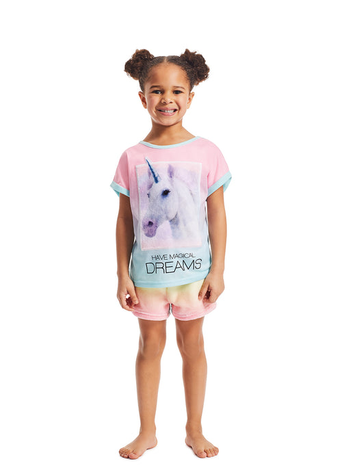 Girls 2-Piece Pajama Set | Aqua Unicorn Fleece Applique Sleep Top, Multicolour Shorts