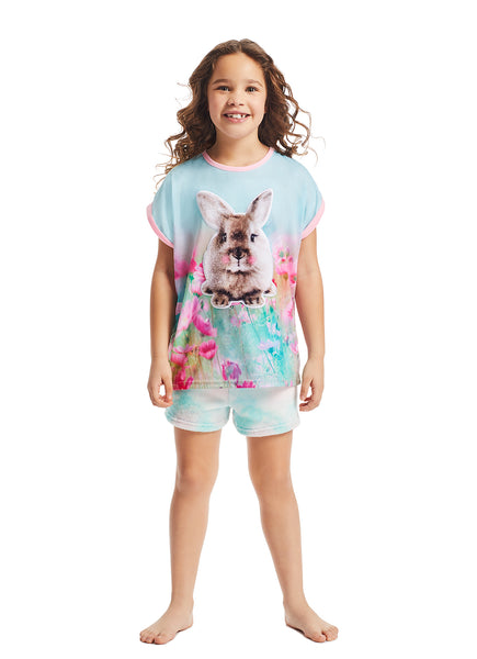 Girls 2-Piece Pajama Set | Pink Bunny Fleece Applique Sleep Top, Multicolour Shorts
