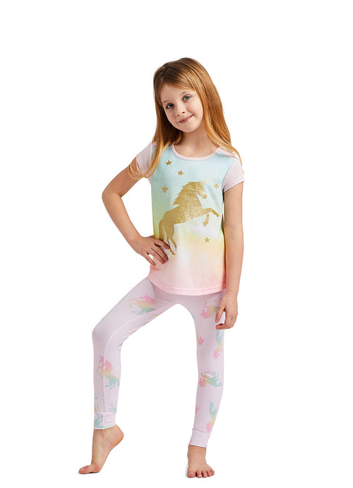Pink Unicorn Glitter Print Top, Jogger Pants