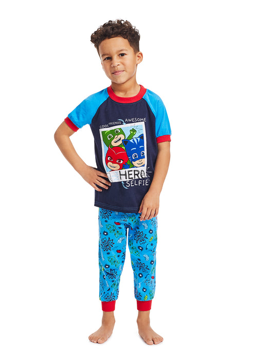 PJ Masks Boys 2-Piece Sleepwear | Soft and Cozy Kids Blue Pajama Set