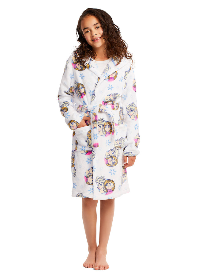 Girls Fleece Hooded Bathrobe (Disney Frozen Robe)
