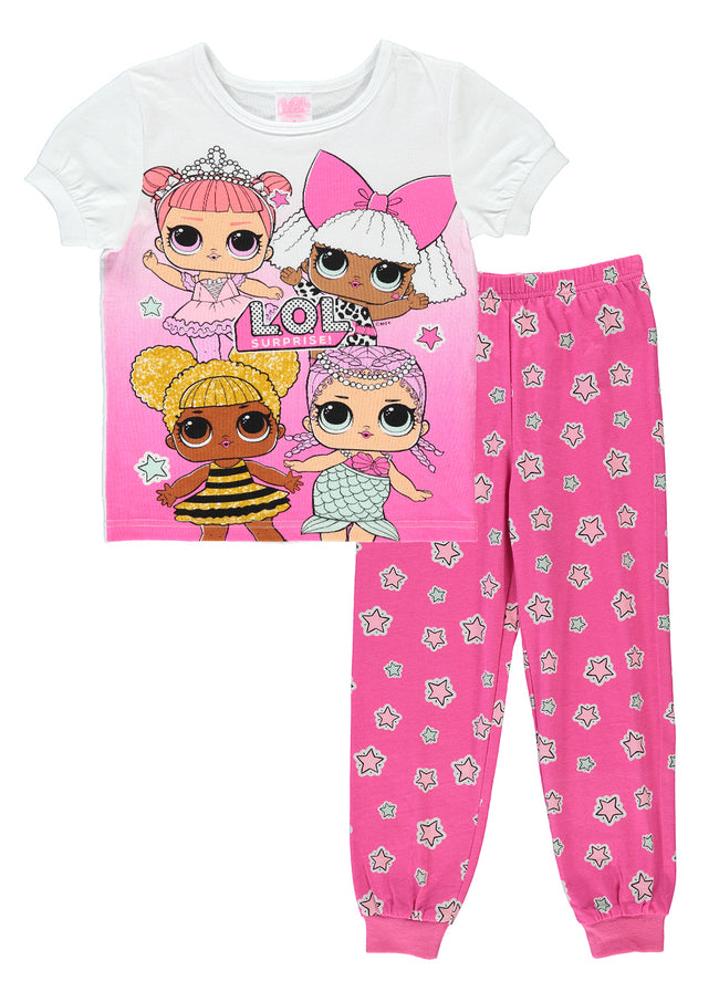 L.O.L. Surprise! Girls 2-Piece Cotton Pajama Set | Short-Sleeve Top & Jogger Pants
