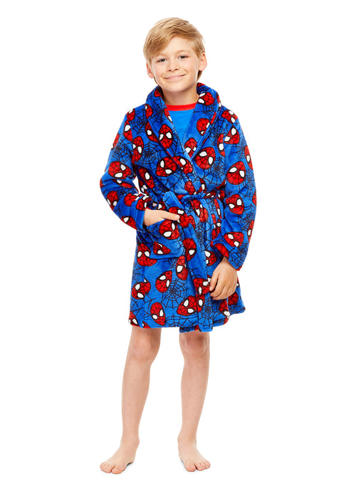 Spider-Man Boys Bathrobe Blue & Red Fleece Sleepwear