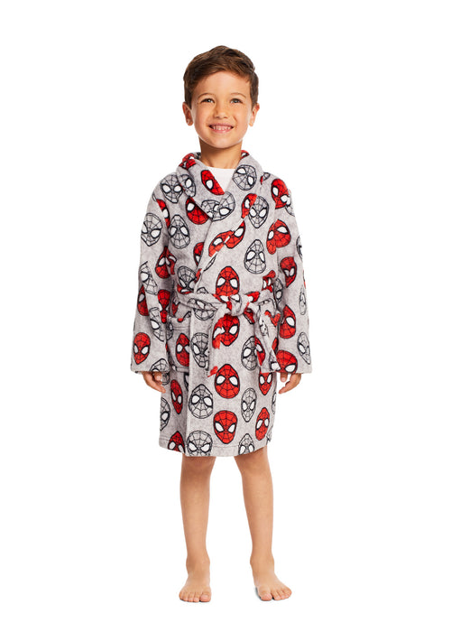 Spider-Man Boys Robe Red & Grey Fleece Sleepwear