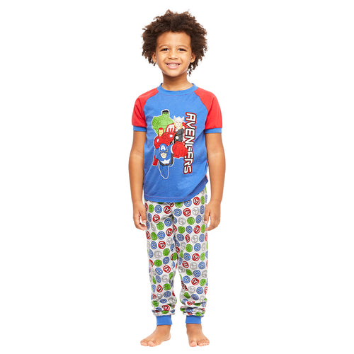 Boys 2-Piece Cotton Pajamas Set, Short-Sleeve Top and Jogger Pants, Avengers, by Jellifish Kids