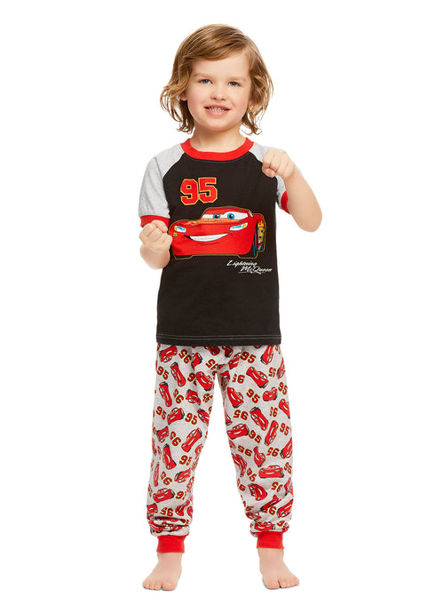 Disney Cars Boys Red & Black Cotton 2-Piece Pajama Set