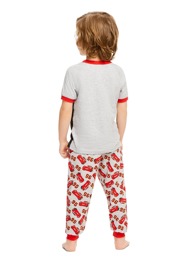 Boys Red & Black Cotton 2-Piece Pajama Set (Disney Cars, lightning mcqueen)