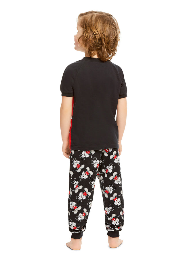 Disney Mickey Boys 2-Piece Cotton PJ | Short-Sleeve Top & Jogger Pants