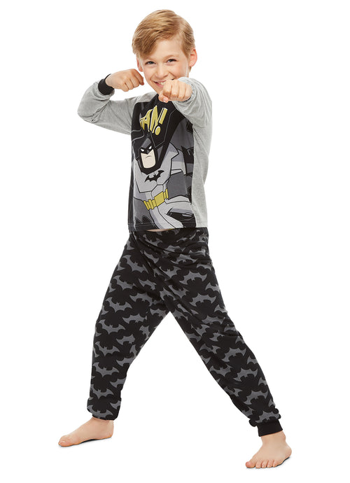 DC Super Friends Batman Boys Sleepwear | Cotton Kids 2-Piece Pajama Set