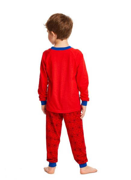 Spider-Man Boys Red & Blue Cotton 2-Piece Pajama Set