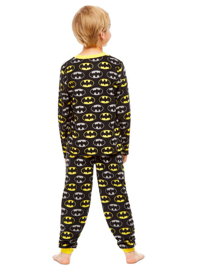 Batman Boys Pajamas Black & Yellow Fleece 2-Piece Set
