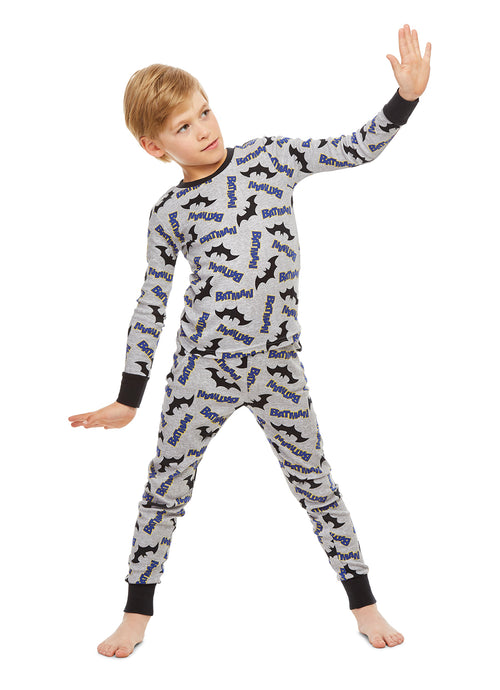 Boys Batman Pajamas Black & Grey Cotton 2-Piece PJ Set