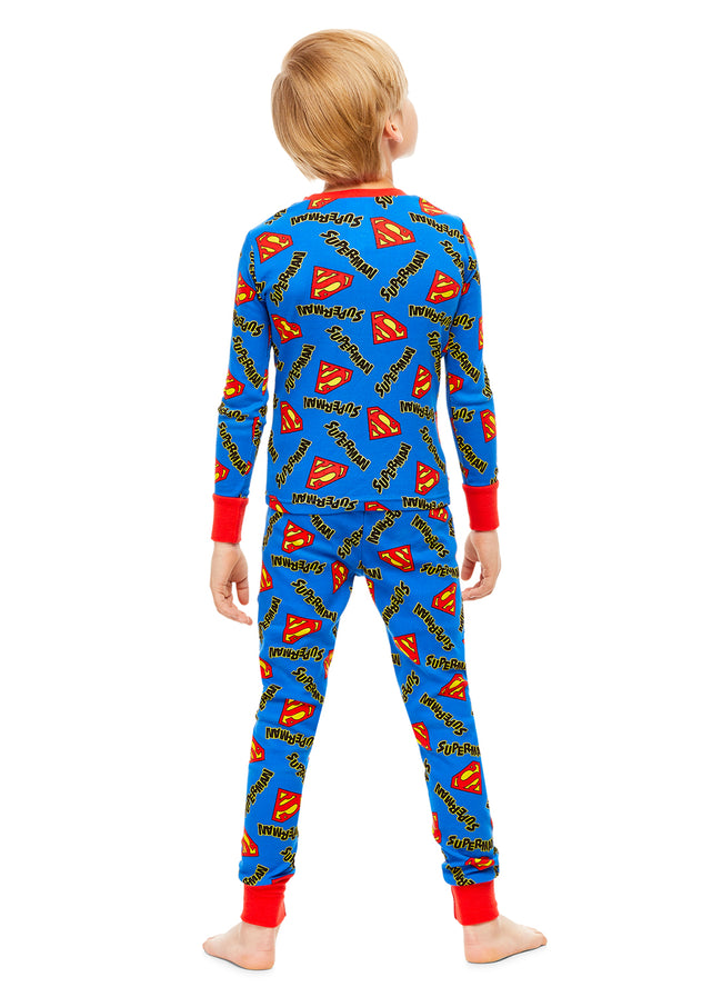 DC Super Friends Superman Boys Sleepwear | Cotton Kids 2-Piece Pajamas