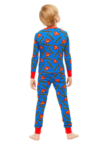 Superman Boys Pajamas Blue & Red Cotton 2-Piece PJ Set