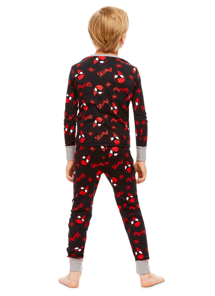 Spider-Man Boys Black & Red Cotton 2-Piece Pajama Set