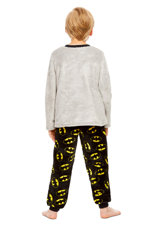 DC Super Friends Batman Boys Sleepwear | Fleece Kids 2-Piece Pajama Set