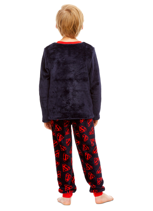 DC Super Friends Superman Boys Sleepwear | Fleece Kids 2-Piece Pajama Set